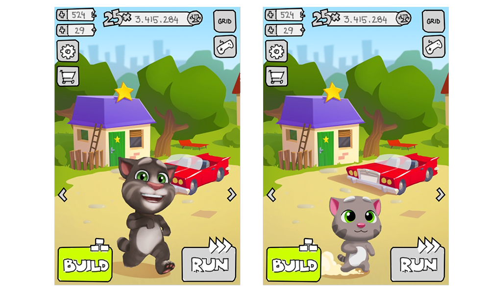 Fig. 1: Two designs for Talking Tom—T3 and T4